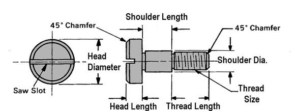 Ampg303 Shoulder Screw STR60151C88 1//4-20 x 5 1//2 In L